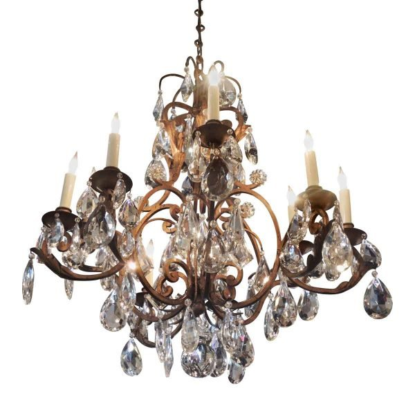 French Iron Chandelier with High Quality Faceted Crystals
