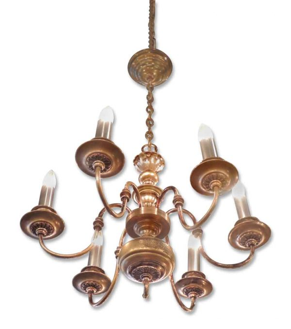 Silver Over Brass Six Arm Williamsburg Style Chandelier
