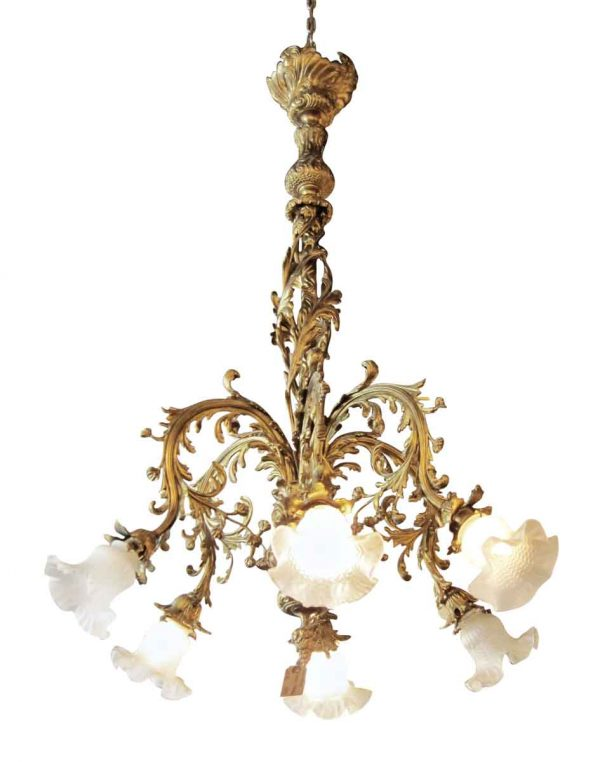 Floral French Bronze Chandelier with Six Down Lights