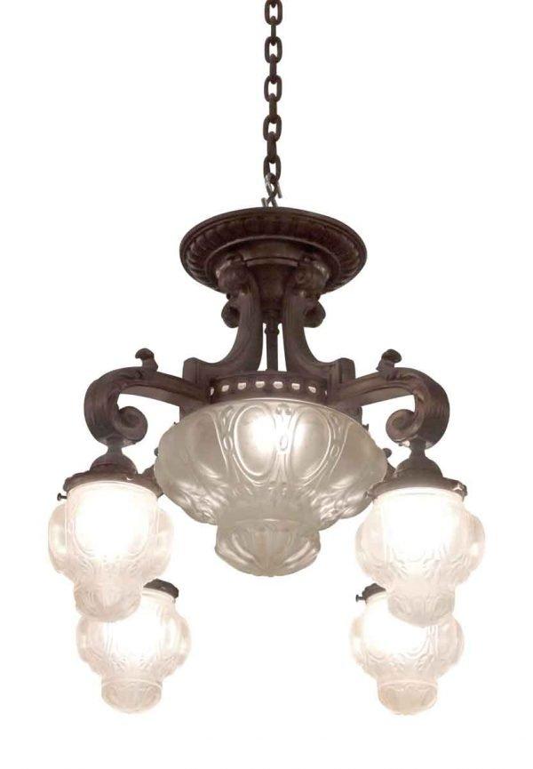 Cast Bronze Down Light Chandelier with Cast Glass Globes