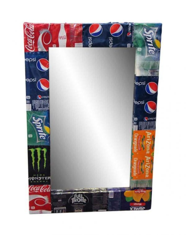 Eclectic Mirror Frame Made from Salvaged Soda Cans