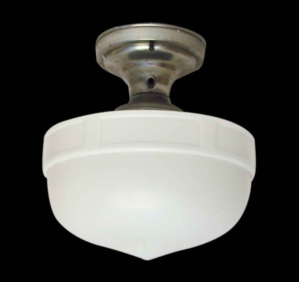 Milk Glass Globe with Flush Mount Fitter