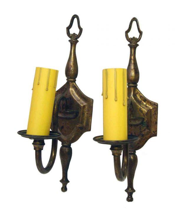 Pair of Cast Brass Single Arm Sconces