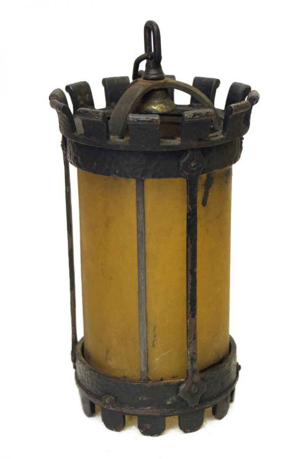Gothic Iron Pendant Light with Amber Glass