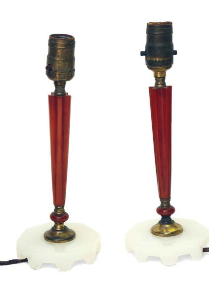 Red Bakelite Slim Bedside Lamps