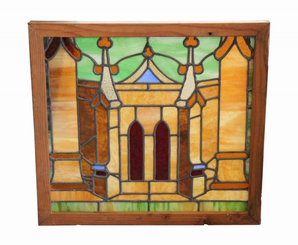 Bright Colored Stained Glass Window of a Gothic Building