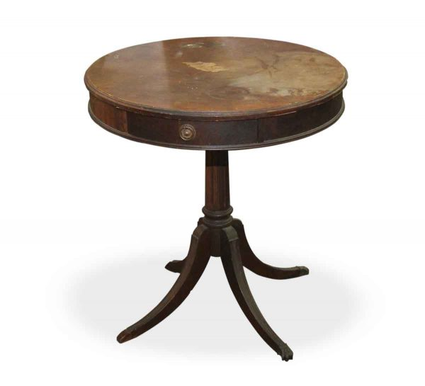 Mahogany Round Side Table with Center Drawer