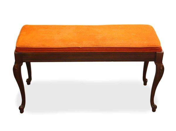 Orange Crushed Velvet Cushioned Piano Bench