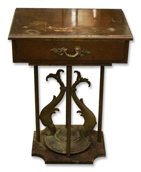 Wooden & Bronze Side Pedestal Table