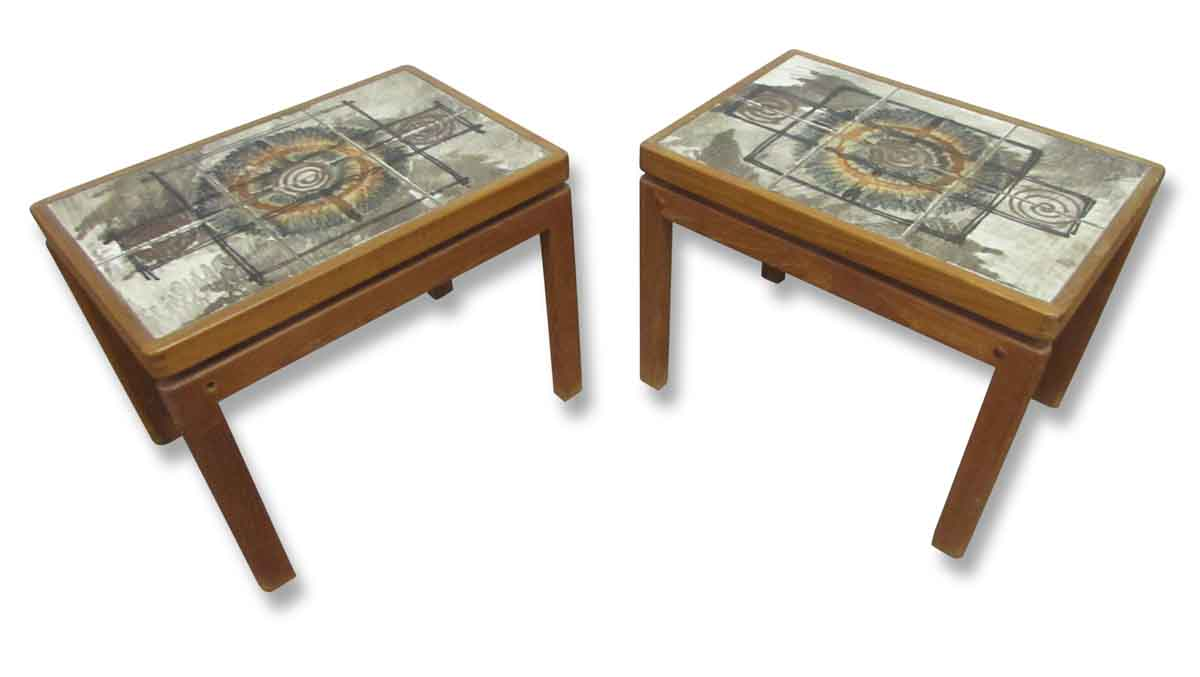 Cool mid century tile top wooden side tables olde good for Cool side tables