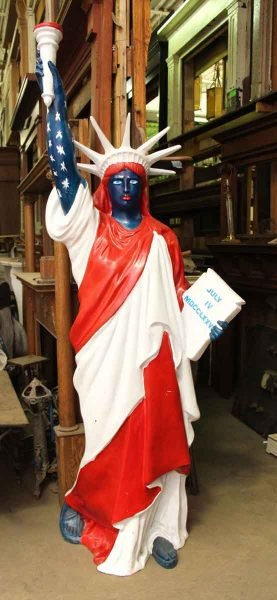 White & Blue Painted Statue of Liberty