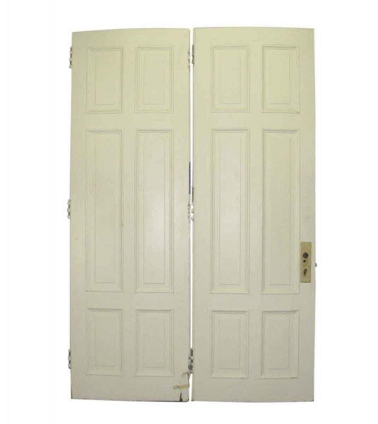 White Double Doors with Six Vertical Panels