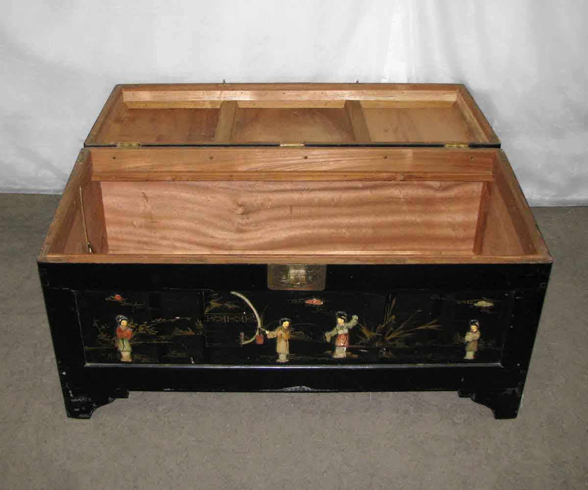 Cedar Chest With Inlaid Asian Art Olde Good Things