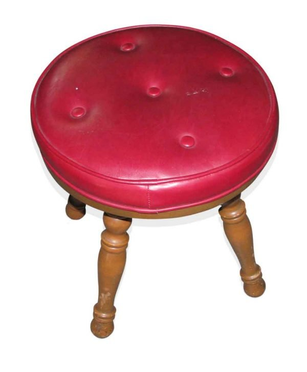Red Cushioned Wooden Stool
