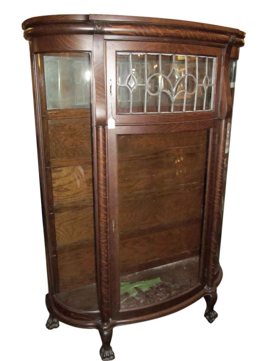 Antique China Cabinet with Leaded Glass - Antique China Cabinet With Leaded Glass Olde Good Things