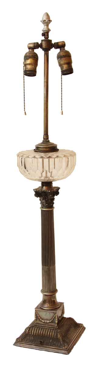 Silver Plated Brass Columned Lamp with Glass Middle