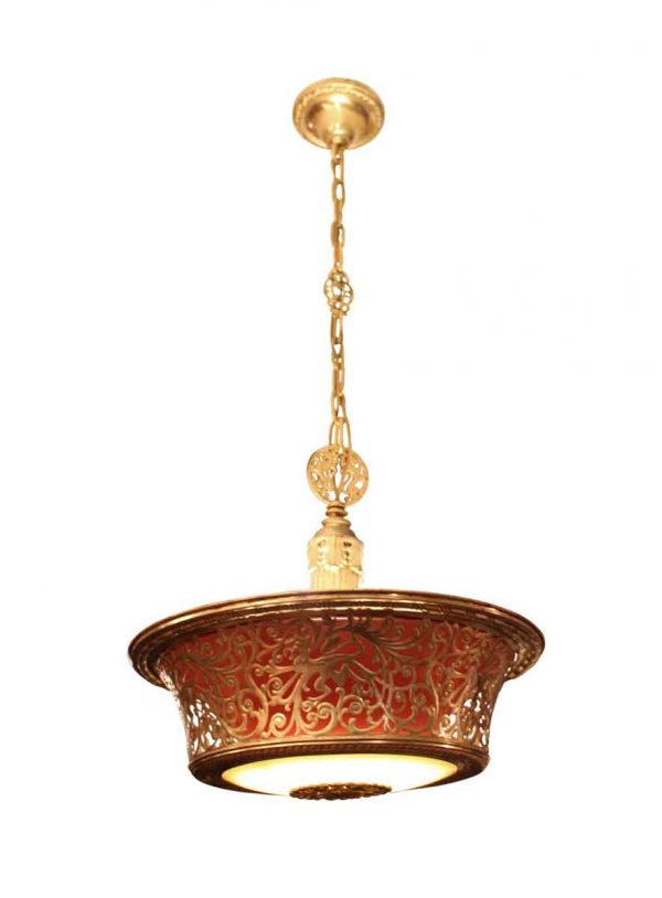 Art Deco Stylized Brass Filigree Light Fixture