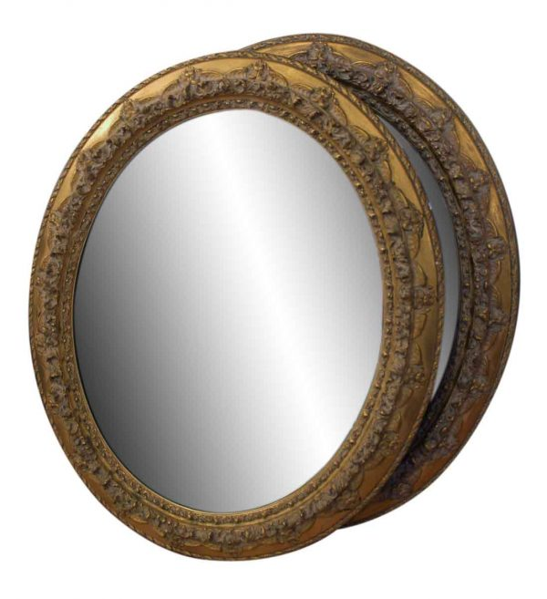 Gold Gilded Oval Framed Floral Mirrors