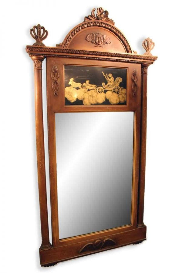 19th Century Angelic Wood Framed Mirror