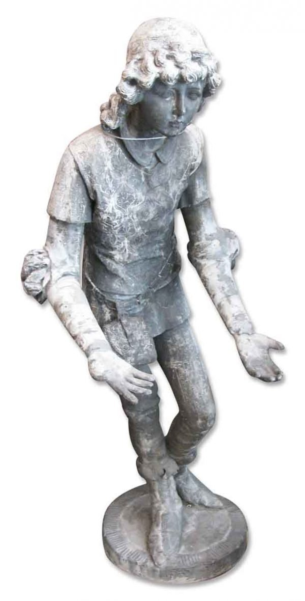 Pair of Lead English Boy Garden Statues