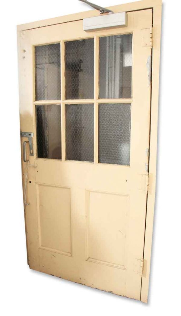 Extra Wide Steel Door with Chicken Wire Glass