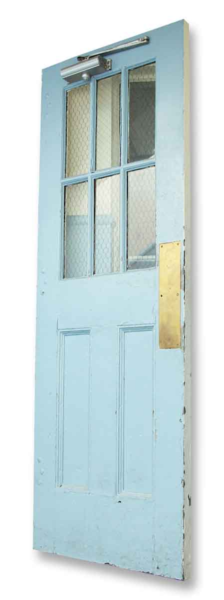 Pair Industrial Metal Doors with Chicken Wire & Baby Blue Paint