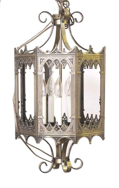 Cast Brass Hanging Lantern with Decorative Detail