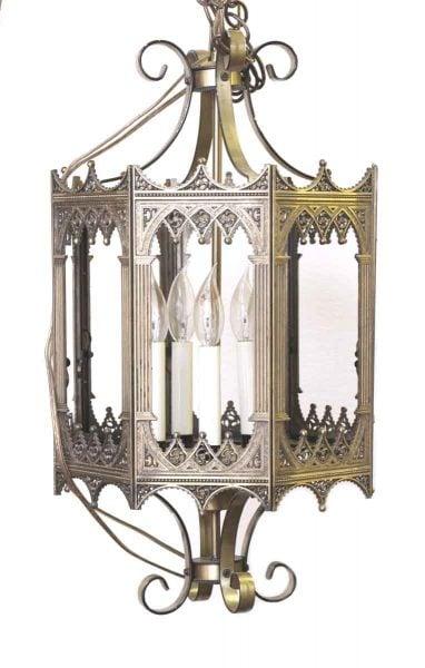 Cast Brass Hanging Lantern with Decorative Detail