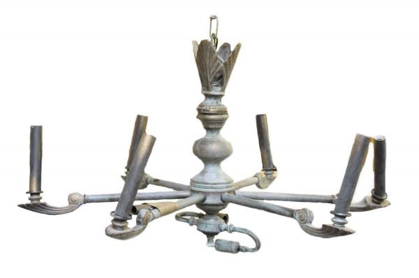 Converted Five Arm Bronze Gas Chandelier