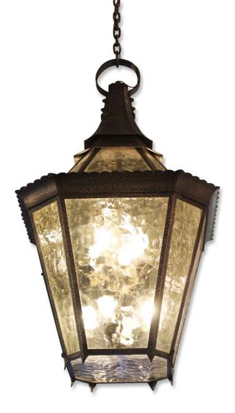 Hammered Brass & Amber Glass Pendant Lantern Light
