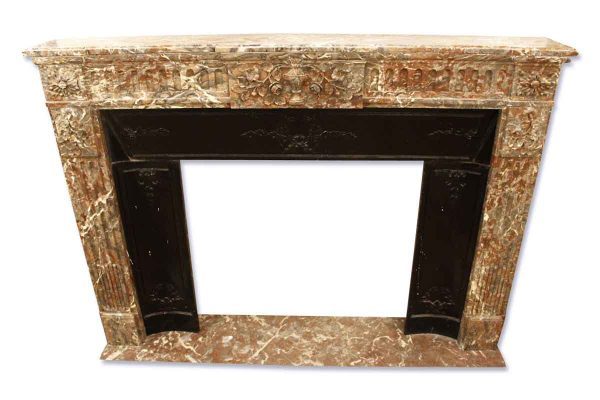 French Rouge Royal Marble Mantel with Center Urn Motif
