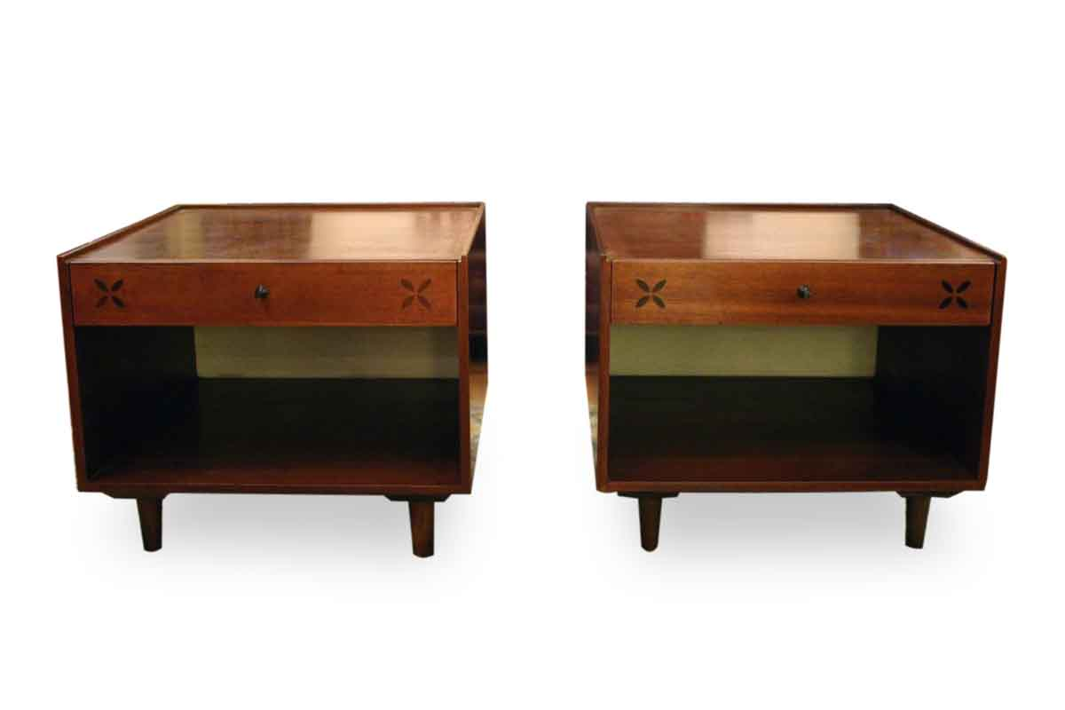 Pair of mid century walnut side table olde good things Antique side tables for living room