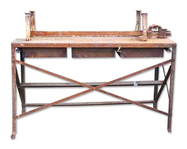 Industrial Metal Table with Vintage Reel & Motor Accents