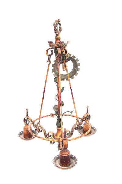 Down Light Chandelier with Hand Painted Floral Details
