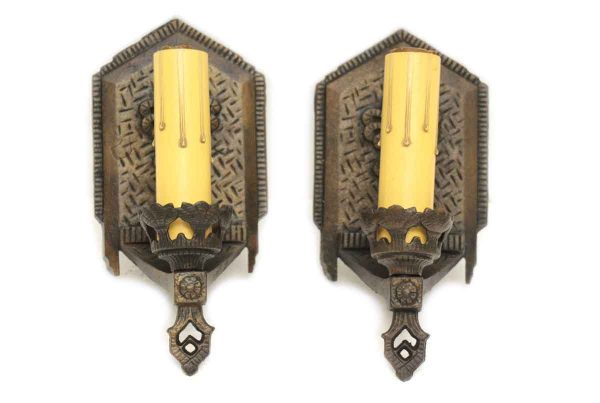 Cast Iron Sconces with Bronze Finish & Deco Design