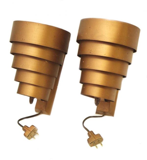 Pair of Metal Tiered Mid Century Sconces