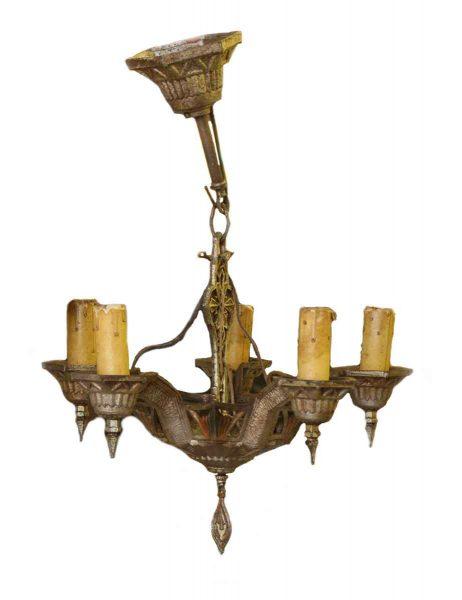 Five Light Cast Iron Deco Chandelier