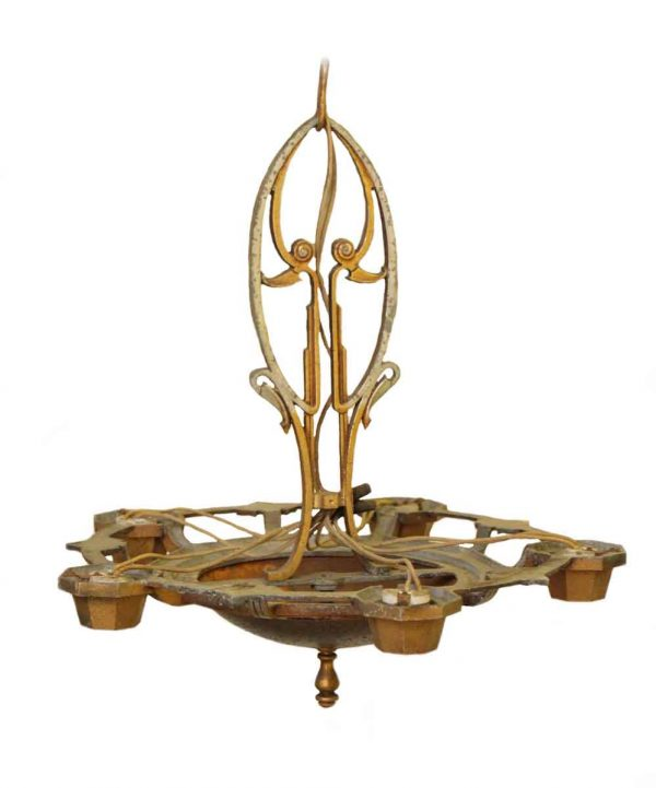 Cast Iron Deco Chandelier with Five Lights