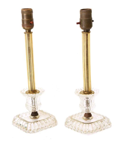 Pair of Glass Table Lamps with Amber Stems