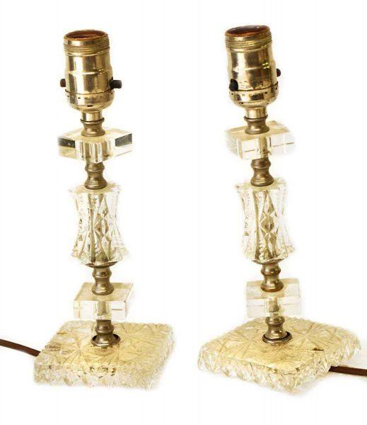 Set of Antique Bedside Glass Lamps