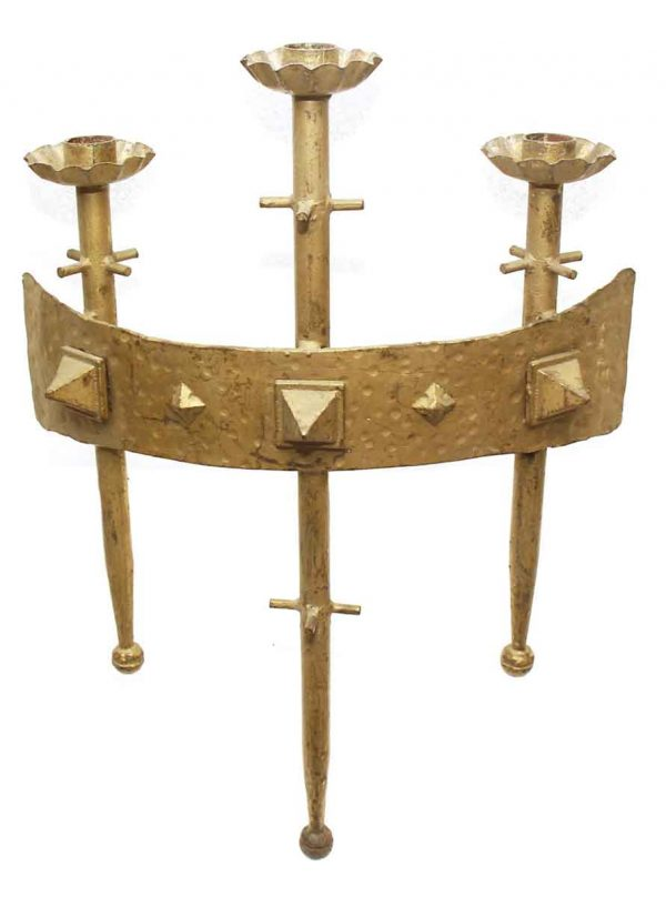 Set of Two Triple Arm Large Cast Brass Sconces