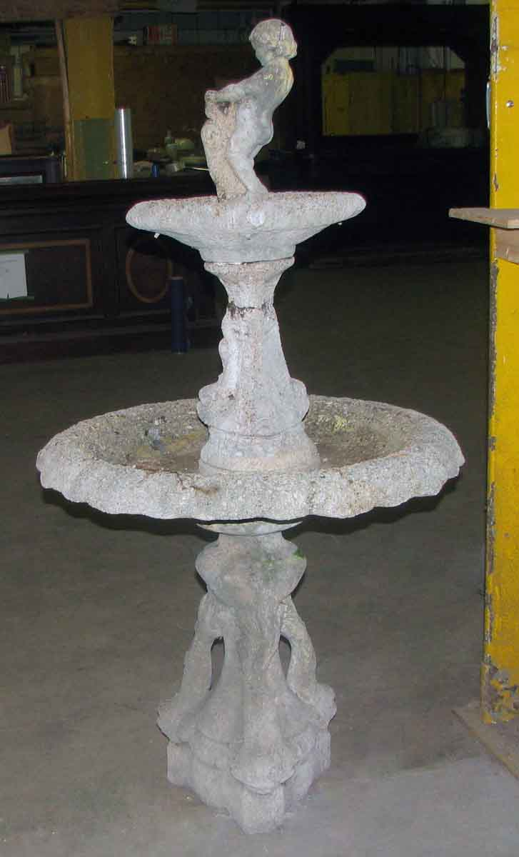 Figural Poured Concrete Double Fountain Olde Good Things