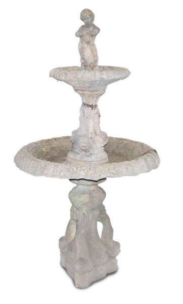 Figural Poured Concrete Double Fountain