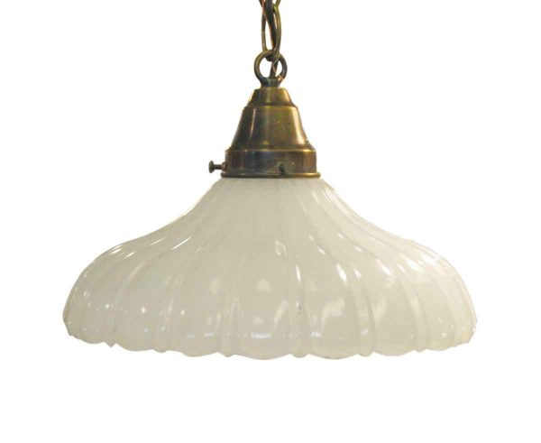 Fluted Milk Glass Pendant Light