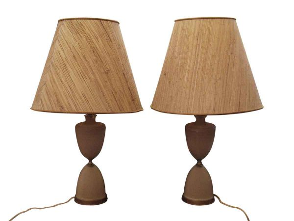 Mid Century Glass & Painted Bronze Lamps