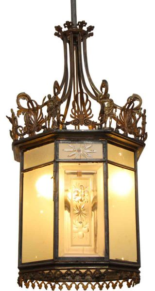 Large Bronze & Etched Glass Three Light Hall Lantern