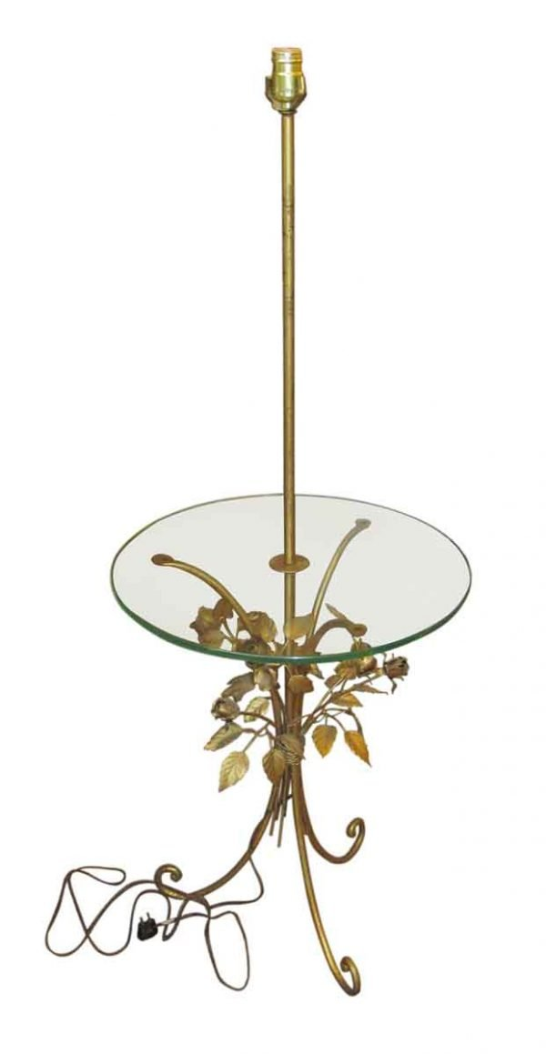 Brass Rose End Table & Lamp