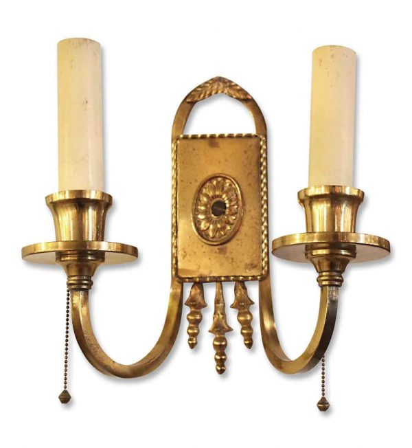 Pair of Two Arm Brass Sconces