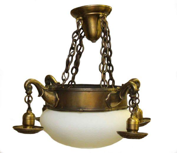 Brass Down Light Chandelier with Milk Glass Globe