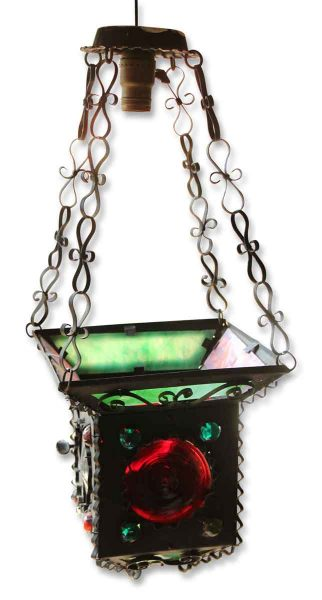 Colorful Stained Red & Green Glass & Jeweled Lantern Light